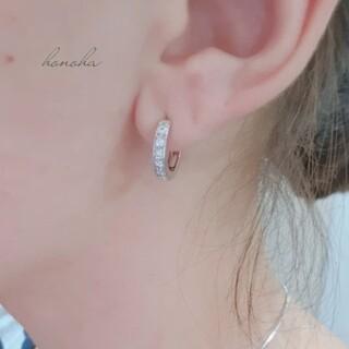 ジルコニアフープピアス 一級AAAジルコニアダイヤモンド 18kgp