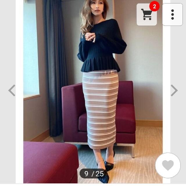 RESEXXY(リゼクシー)のRESEXXYリブニットスカートブラック黒 レディースのスカート(ひざ丈スカート)の商品写真