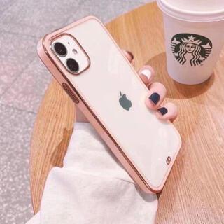 iPhone 12mini ケース 透明 クリア 大人気 ピンク(iPhoneケース)