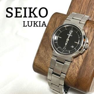 【美品】セイコー ルキア 腕時計 レディース デイト 黒文字盤 シンプル