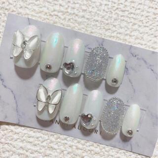 ネイルチップ 蝶々 韓国 オーロラネイル ホワイト ピクシーネイル