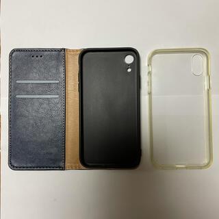 中古iPhoneXR用手帳型ケース(ブルー色)+クリアソフトケース