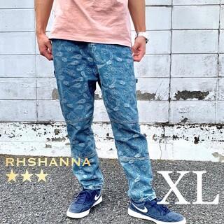 11【数量限定】新品 メンズ ペイズリー柄 デニム ワイド シェフパンツ XL(デニム/ジーンズ)