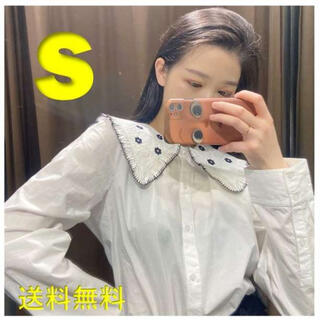 新品✨ S 刺繍 エンブロイダリー ピーターパン襟 ピーターパンカラー ホワイト
