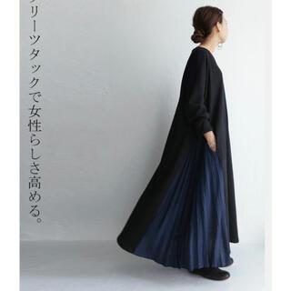 antiqua - アンティカ  ミニ裏毛ワンピース  黒 ブラック