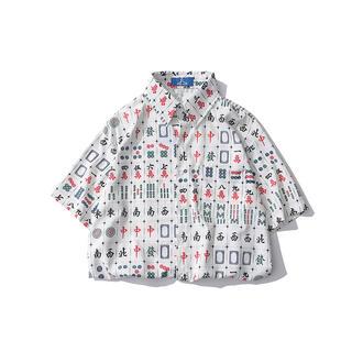 【最後一点】麻雀プリント 男性シャツ 2021夏半袖 麻雀牌柄 個性的 総柄(麻雀)