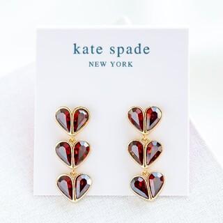 kate spade new york - 【新品♠本物】ケイトスペード ハート3連ピアス レッド