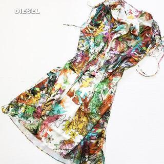 DIESEL - 【DIESEL】フローラル総柄 光沢素材 肩リボン ワンピース