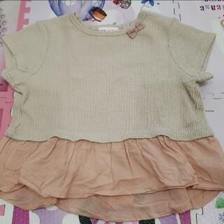 サンカンシオン(3can4on)のキッズ 100 Tシャツ 半袖 ベージュ ピンク リボン フリル 女の子(Tシャツ/カットソー)