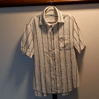 Crocodile - CROCODILE麻混シャツ半袖オフホワイトストライプM新品同様、