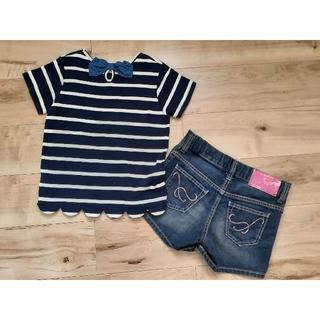 サムシング(SOMETHING)のTシャツ&SOMETHINGショートデニムパンツ2点セット 140cm(その他)