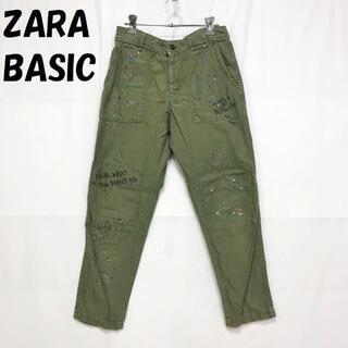 ザラ(ZARA)のザラベーシック ペイント ワークパンツ コットンパンツ USサイズ2 レディース(ワークパンツ/カーゴパンツ)