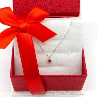 10月ピンクトルマリン。プラチナ誕生石ネックレス。3ミリ幅。ギフトボックスあり(ネックレス)