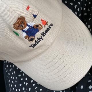 新品 キャップ 帽子 51〜54cm テディベア ベージュ バースデイ しまむら