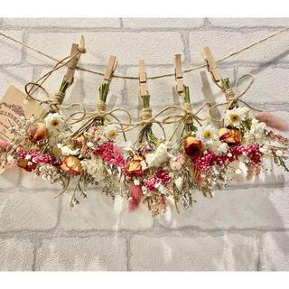 ドライフラワー スワッグ ガーランド❁272ピンク 薔薇 かすみ草 白 花束♪(ドライフラワー)