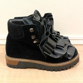 マメ(mame)の今日まで送料込❤️ pokemaoke 厚底 ショートブーツ 黒 ブーティー(ブーツ)