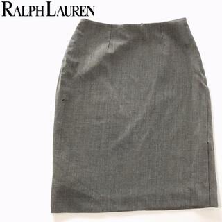 ラルフローレン(Ralph Lauren)のラルフローレン 裏地付ひざ丈タイトスカートスリット入りグレージュ11号(ひざ丈スカート)