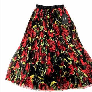 ドルチェアンドガッバーナ(DOLCE&GABBANA)の新品 ドルガバ スカート  42  シルク タグ付き(ロングスカート)