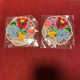 刺繍 レース コースター 2枚(キッチン小物)