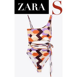 ZARA - 【新品/未着用】ZARA ジオメトリックプリントボディスーツ スイムウェア 水着