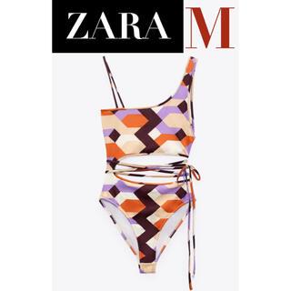 ザラ(ZARA)の【新品/未着用】ZARA ジオメトリックプリントボディスーツ スイムウェア 水着(水着)