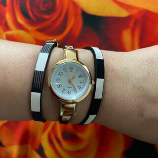 腕時計 レディース 紺白ボーダー 長巻ベルト ゴールド オシャレ(腕時計)