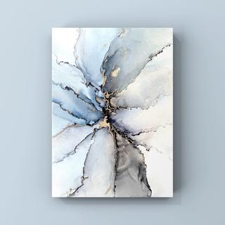 アルコールインクアート インテリアアート アートポスター《smoky blue》(アート/写真)
