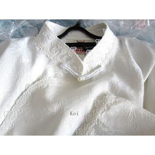 ヴィヴィアンタム(VIVIENNE TAM)のチャイナ風ブラウスセット/改良漢服 M 白+黒プリーツスカート(シャツ/ブラウス(長袖/七分))