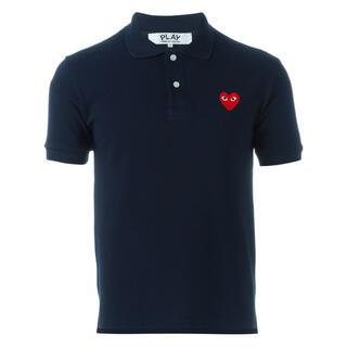 コムデギャルソン(COMME des GARCONS)のCOMME des GARCONS コムデギャルソンロゴポロシャツ S 紺 (ポロシャツ)