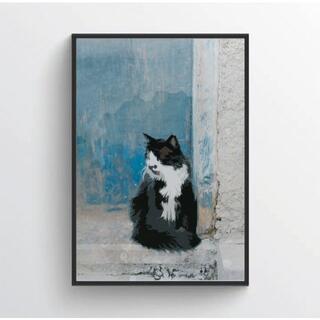 【アートポスター】ニュアンス ブルー 抽象画 壁画 選べるサイズ おしゃれ ねこ(アート/写真)