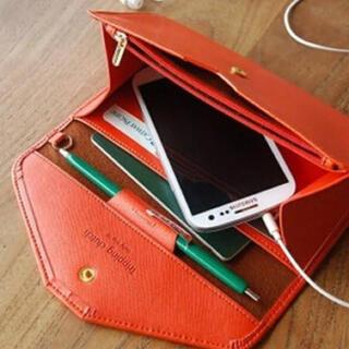 残り僅か★【実物画像あり】パスポートケース オレンジ  スマホ収納 トラベル(旅行用品)