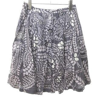 マリメッコ(marimekko)のマリメッコ フレアスカート 膝丈 ボタニカル柄 グレー 薄紫 34(ひざ丈スカート)