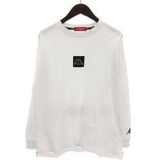 カッパ(Kappa)のカッパ Tシャツ 長袖 クルーネック コットン ロゴ プリント ワッペン 白 M(Tシャツ/カットソー(七分/長袖))