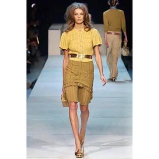 ルイヴィトン(LOUIS VUITTON)のLOUIS VUITTON ランウェイ 裾シフォンフリルスカート(ひざ丈スカート)