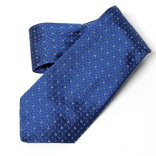 【セリーヌ/CELINE】格子柄ロゴデザイン ネクタイ ブルー 美品