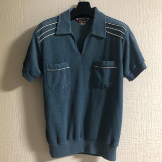 Vintage 半袖 ニット ポロシャツ ロカビリー 70's 80's ブルー(ポロシャツ)
