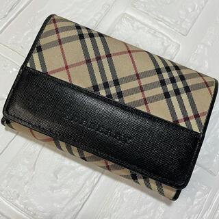 バーバリー(BURBERRY)の美品 Burberry  バーバリー ノバチェック柄 × 牛革製 二つ折り財布(折り財布)