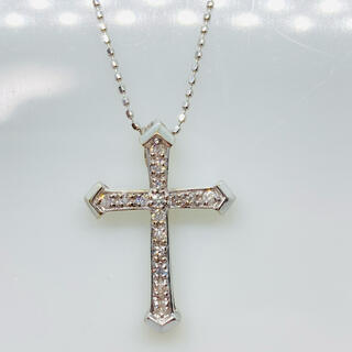 K18WG ダイヤモンド クロスモチーフ ネックレス D:0.20ct(ネックレス)