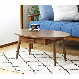 木製 引き出し付きテーブル ブラウン色 幅80cm(ローテーブル)