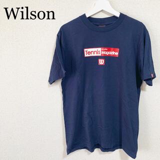 wilson - wilson ウィルソン Tシャツ メンズ 紺色 ロゴマーク 古着 テニス