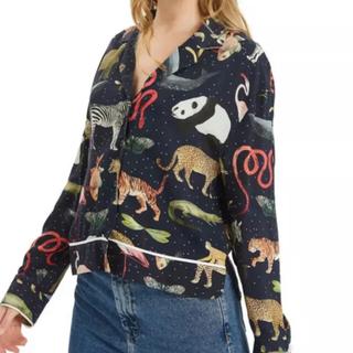 animal print shirt 黒 パンダ (シャツ/ブラウス(長袖/七分))