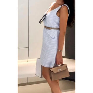 プロポーションボディドレッシング(PROPORTION BODY DRESSING)のツイード ブルー 水色 ワンピース ハートネック ベイビーブルー(ミニワンピース)