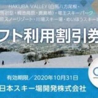 日本駐車場開発  株主優待  リフト割引券   1枚  2021/10/31  (ショッピング)