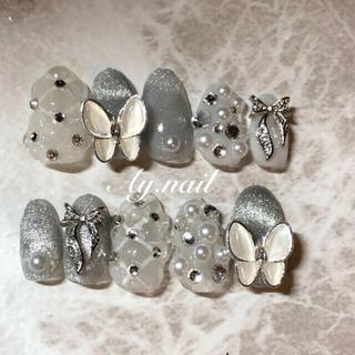 ネイルチップ 韓国ネイル 蝶々ネイル キルティングネイル マグネットネイル