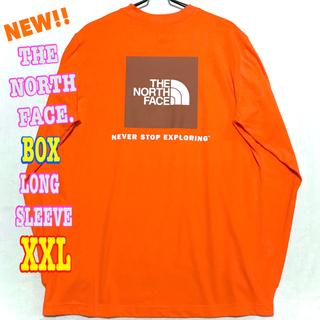 オレンジ ♪ 新品 ノースフェイス BOX NSE ロンT XXL相当 2XL(Tシャツ/カットソー(七分/長袖))
