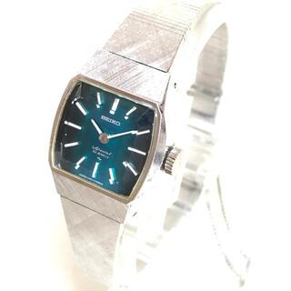 セイコー(SEIKO)の美品 SEIKO 手巻き腕時計 グリーン ビンテージ レトロ アンティーク(掛時計/柱時計)