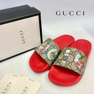 グッチ(Gucci)の美品 GUCCI グッチ キッズ サンダル ヒグチユウコ 赤 GGキャンバス 夏(サンダル)