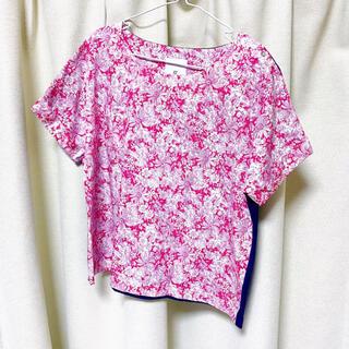 アフタヌーンティー(AfternoonTea)のアフタヌーンティー リバティ 花柄 ネイビー カットソー Tシャツ(Tシャツ(半袖/袖なし))