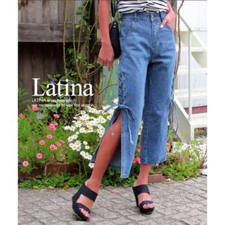アナップラティーナ(ANAP Latina)の新品 ANAP Latina サイドレースアップスリットデニムパンツ ブルー(デニム/ジーンズ)