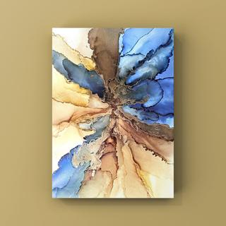 アルコールインク インテリアアート アートポスター《blue yellow》(アート/写真)